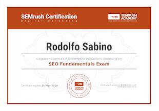 Certificação SemRush - Rodolfo Sabino